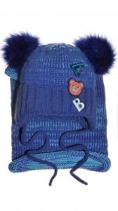 B Bear dark blue beanie & scarf